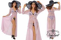 Пляжное длинное женское платье с люрексом № 598