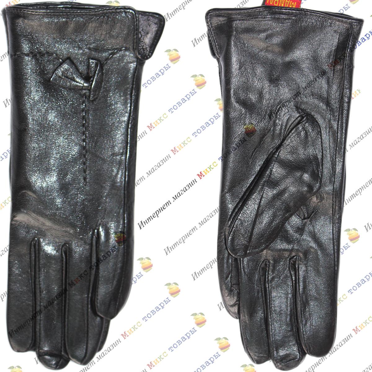 Кожаные женские перчатки чёрного цвета