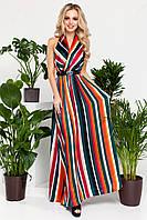 Легкое Шелковое Платье с Открытой Спиной Зеленое в Полоску S-XL, фото 1