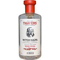 Тоник без спирта, с гамамелисом и алоэ вера, Rose Petal, 355 мл,Thayers, Witch Hazel, Aloe Vera Formula