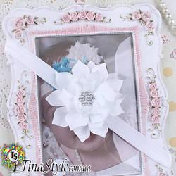 Повязка на голову Цветок белая повязочка  для детей девочек младенца новорожденной лента пов'язочка белая