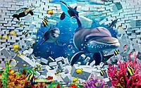 Фотообои детские дельфины в океане