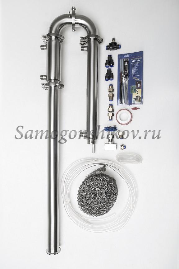 Дистиллятор Сан Саныч «Мега-Хард» СС-3. С царгой 50 см, резьба 1/2, кожухотрубный дефлегматор