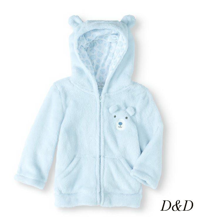 Детская кофта с капюшоном голубая на 24 месяца Quiltex