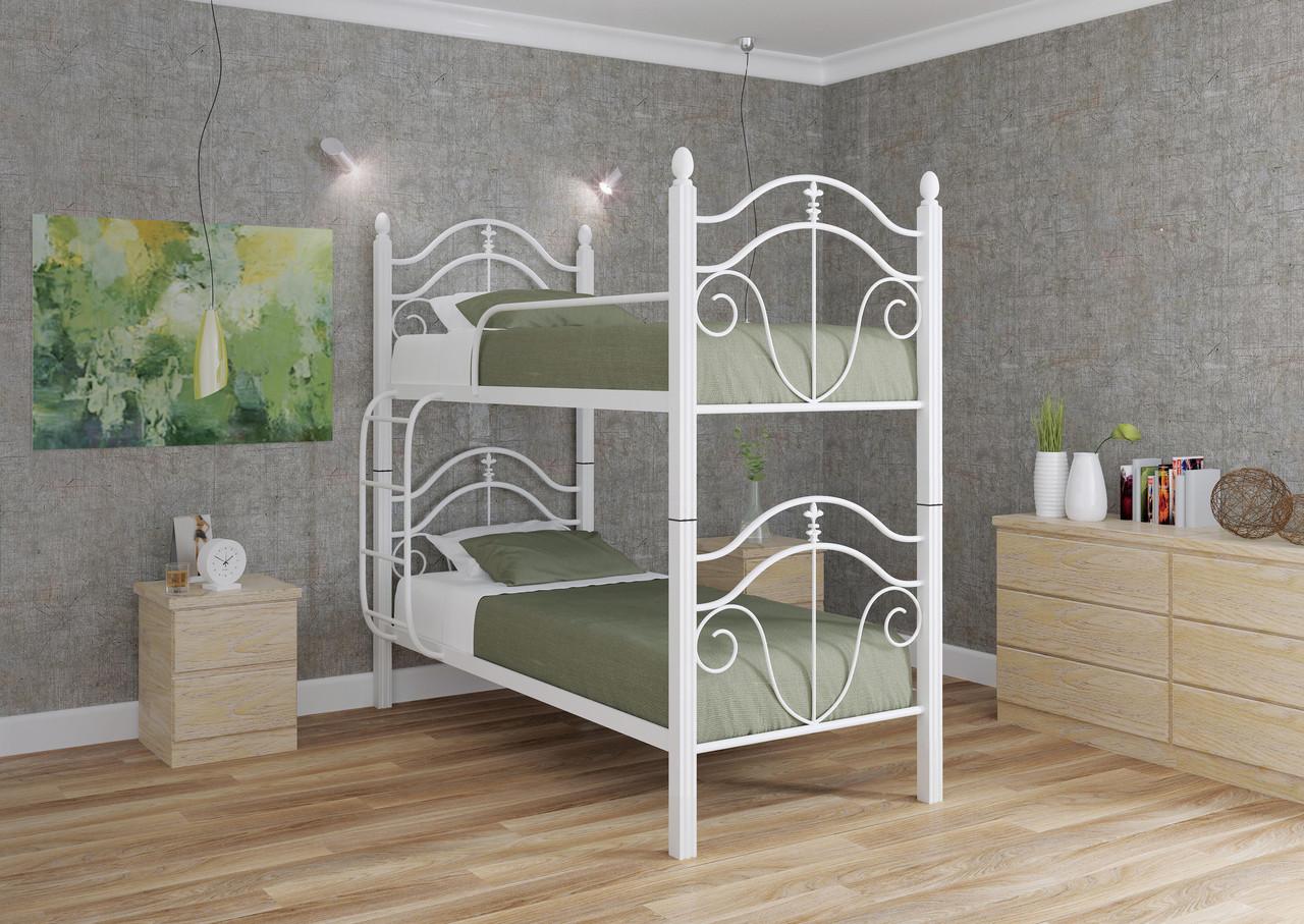 Двухъярусная кровать Диана 2 белая 90*200 деревянные ножки (Металл дизайн)
