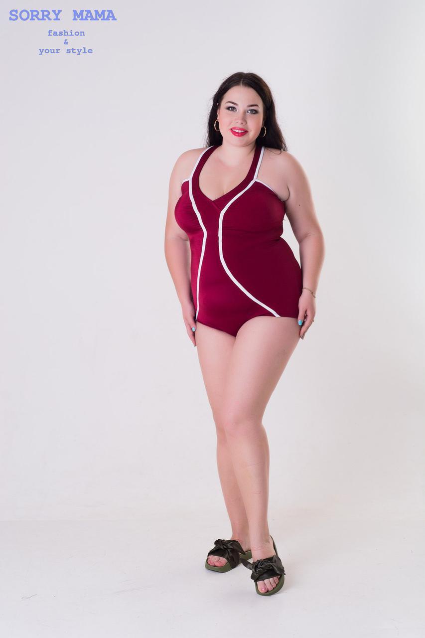 Сплошной женский купальник в больших размерах 1015811