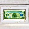 """Шоколадная открытка """" Купюра 1000 долларов """" классическое сырье. Размер: 180х120х5мм, вес 90г"""