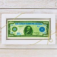 """Шоколадная открытка """" Купюра 1000 долларов """" классическое сырье. Размер: 180х120х5мм, вес 90г, фото 1"""