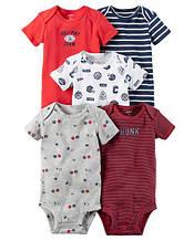 Набор из 5-ти бодиков Carter's  для мальчика, красный, белый, синий, серый
