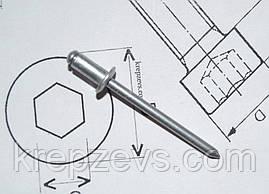 Заклепка Ф6.0 DIN 7337 з звичайним буртиком
