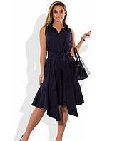 6cdd0035158 Женское асимметричное платье темно синее размеры от XL ПБ-584