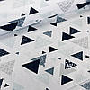 Хлопковая детская бязь польская треугольники мятные, серые, черные на белом