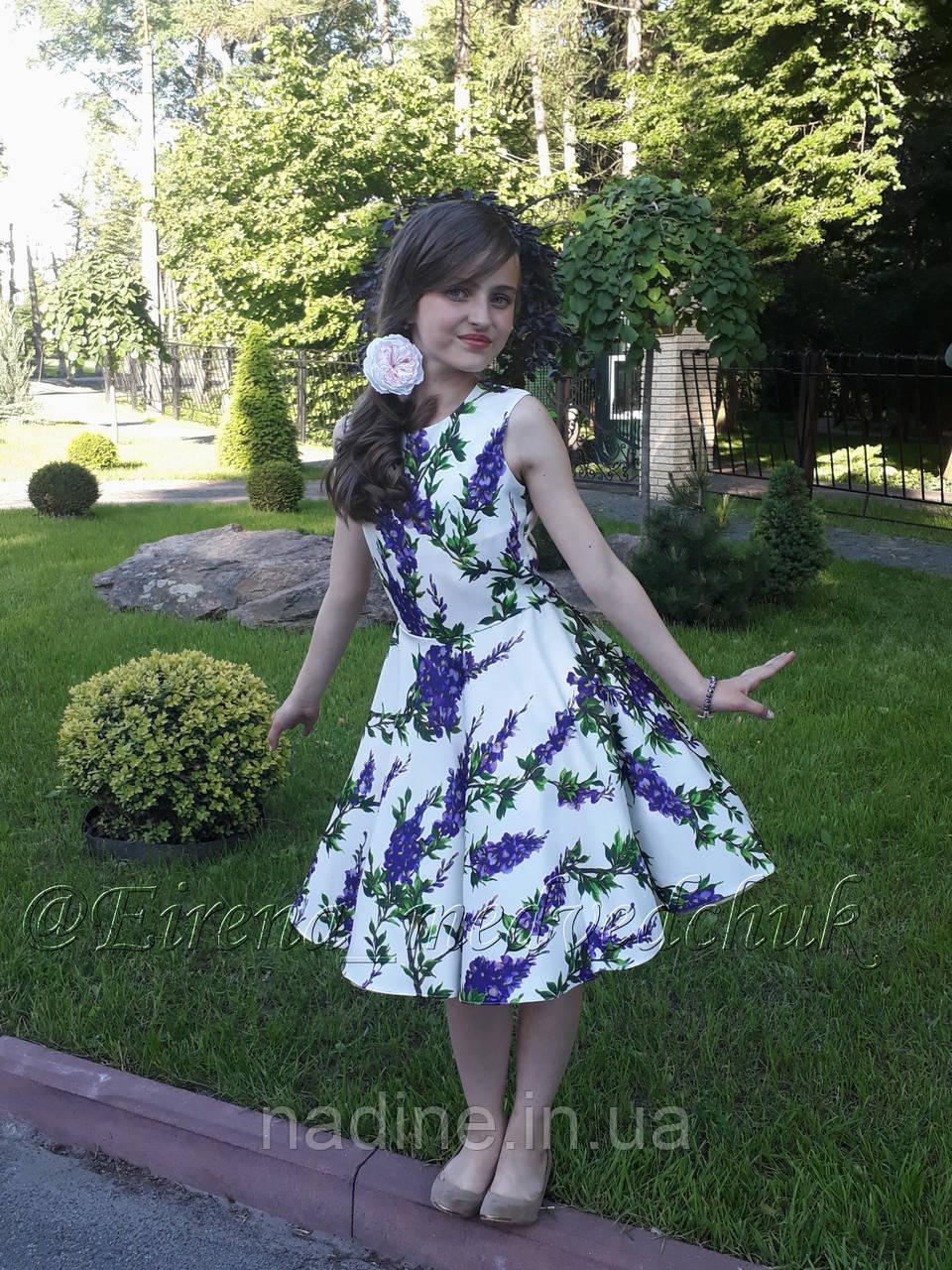 Платье Nadine с юбкой солнце клёш 134 см белое с цветочным принтом
