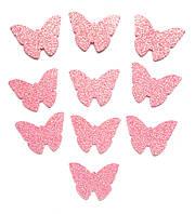 Розовые бабочки с глиттером (блестками) аппликации из фоамирана Латекса заготовки 3.8 см 10 шт/уп