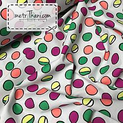 Ткань премиум класса разноцветные шарики на сером фоне №3778