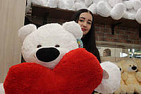 """Плюшевий ведмедик-велетень """"Бублик"""" (180 см) з серцем (75 див.)"""