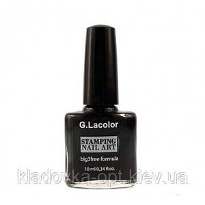 Лак для стемпинга G.La Color 001   черный 10 мл