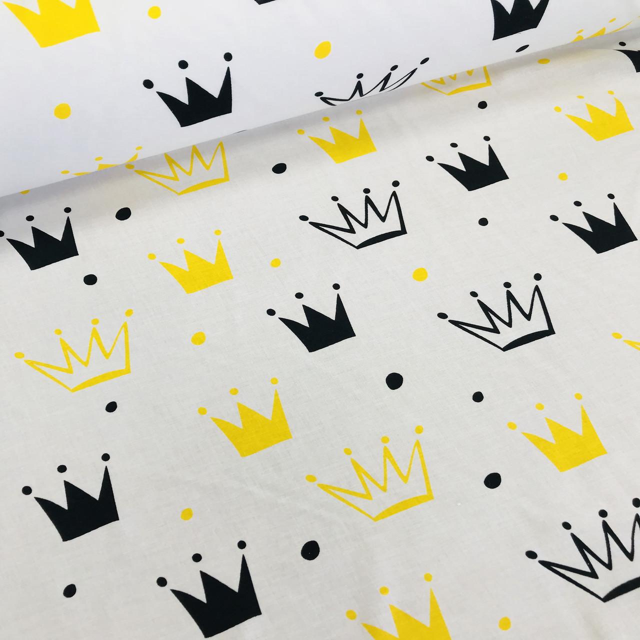 ФЛАНЕЛЬ детская короны желтые и черные на белом