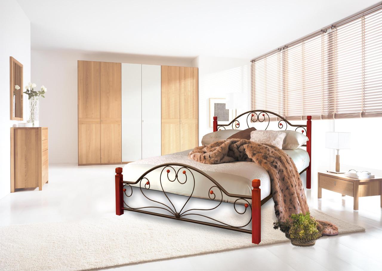 Кровать Джоконда 140*190 деревянные ножки (Металл дизайн)