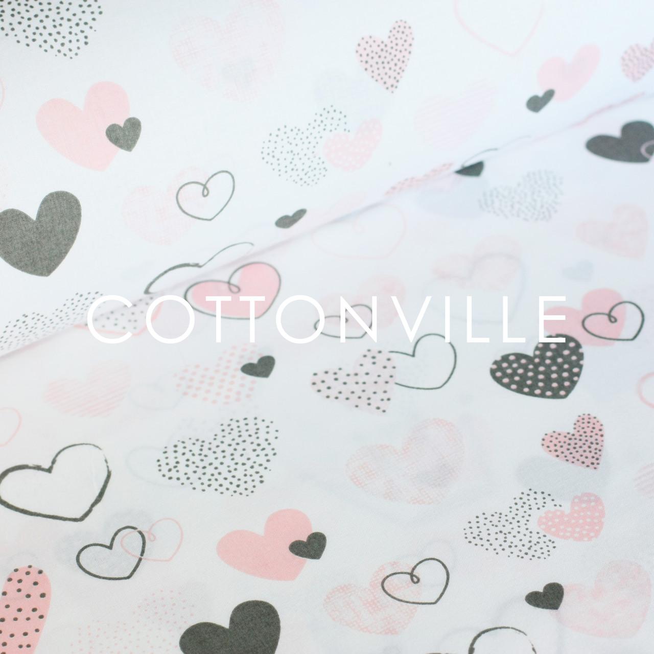 Бязь  Сердечка сіро-рожеві