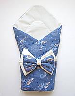 """Летний конверт-одеяло на выписку """"Ловец снов"""" синий"""