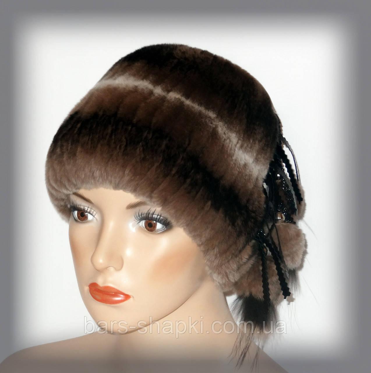Женская шапка из натурального меха Rex Rabbit (коричневая кубанка)