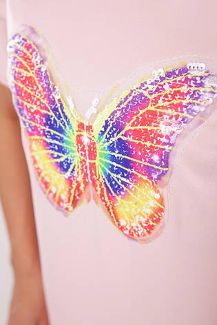 Легке плаття-туніка на літо короткий рукав з яскравим малюнком метелик персикове, фото 2