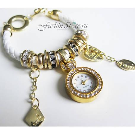 Часы-браслет Pandora (часы в стиле Pandora Style) белые с золотой фурнитурой, фото 2