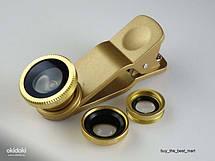 Универсальный набор объективов линз для телефона 3 в 1 Fisheye Macro Wide Фишай золотой, фото 2