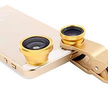 Универсальный набор объективов линз для телефона 3 в 1 Fisheye Macro Wide Фишай золотой, фото 3