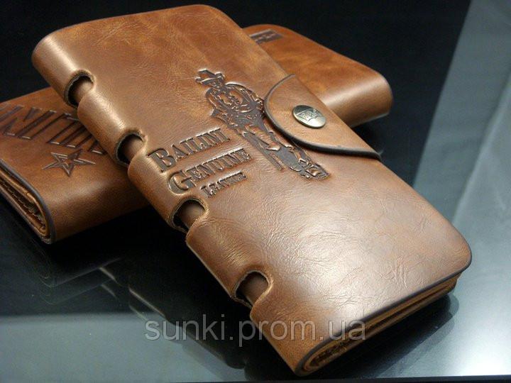 Кошелек мужской бумажник визитница Bailini длинный с ковбоем с вырезами Коричневый
