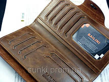 Кошелек мужской бумажник визитница Bailini длинный с ковбоем с вырезами Коричневый, фото 2