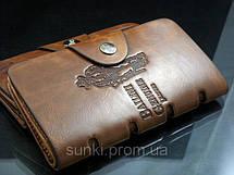 Кошелек мужской бумажник визитница Bailini длинный с ковбоем с вырезами Коричневый, фото 3