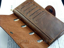 Кошелек мужской бумажник визитница Bailini длинный 501 с вырезами, фото 2