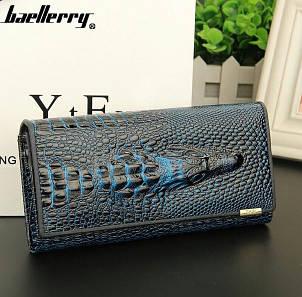 Женский клатч портмоне  Baellerry Italia Крокодил (черно-синий), фото 2