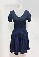 Платье расклешенное синее в горошек, фото 1