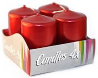 Свеча декоративная цилиндрическая 40х60мм 4шт цвет красный металлик