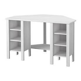 IKEA, BRUSALI, Угловой стол, белый, 120x73 см (10304992)(S103.049.92) БРУСАЛИ ИКЕА