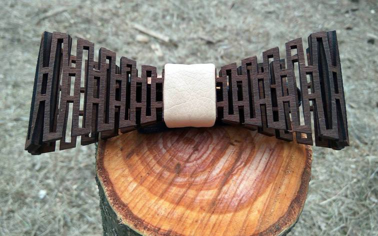 Деревянная бабочка галстук Беж ручной работы, серия Flexion, фото 2