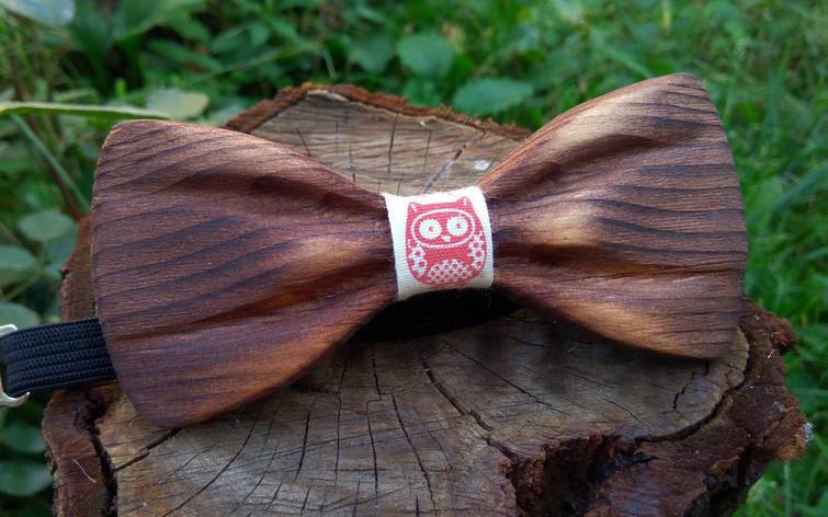 Деревянная бабочка галстук 3D Сова ручной работы, серия Зиррикот, фото 2