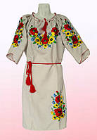 """Платье женское с вышивкой """"Подсолнухи"""" больших размеров (2805/29)"""