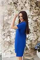 """Летнее легкое прямое платье с коротким рукавом длиннее сзади """"Невада"""" синее"""