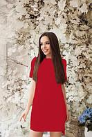 """Летнее прямое красное платье с коротким рукавом асимметричное """"Невада"""""""