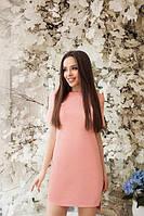 """Летнее короткое свободное платье с коротким рукавом длиннее сзади """"Невада"""" персиковое"""