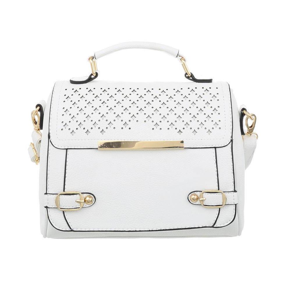 Женская перфорированная сумка с золотыми замками (Европа) Белый