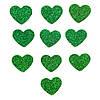 Зеленые сердечки сердца с глиттером (блестками) аппликации из фоамирана Латекса заготовки 3.8 см 10 шт/уп