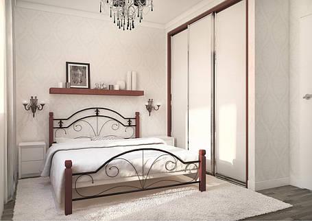 Кровать Диана 140*200 деревянные ножки (Металл дизайн), фото 2