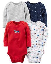 Набор из 4-х боди Carter's для мальчика, серый, белый, красный и синий