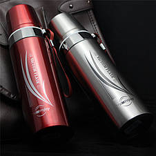 Термос с чашкой глянцевый для горячих и холодных напитков с шнурком  650 мл красный, фото 3
