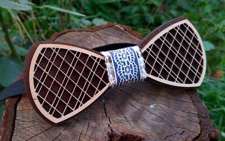 Деревянная бабочка галстук Орнамент Синий ручной работы, серия Fantasy, фото 2